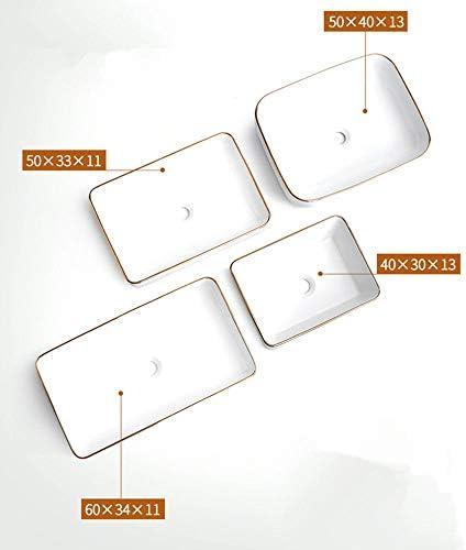 洗面ボール 現代のゴールドエッジデザインのバスルーム長方形の上白船バニティシンクの内閣洗面所バニティ 洗面器 (Color : White, Size : 50X40X13cm)