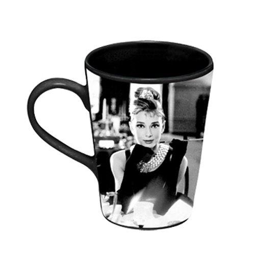 Vandor 92062 Audrey Hepburn Breakfast at Tiffany's 12 oz Ceramic Mug, Black and White ()