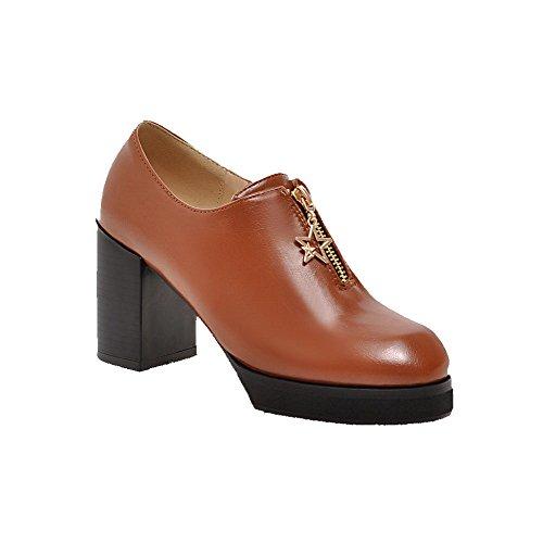 Chiusi Donne Solida Talloni calzature Punta Pompe Marroni Rotonda Cerniera Alti Allhqfashion Delle 1nFUqq04