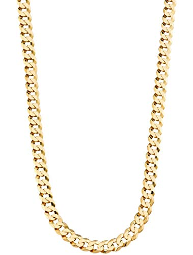 MiaBella 18K Gold Over Sterling Silver Italian 9mm Heavy Solid Cuban Link Curb Chain Necklace, 22