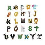 WSSROGY 26Pcs Letters Iron on Patches, A-Z Alphabet Letter Patches Animal Shaped Iron On Sew On Patches Appliques Jeans Jackets