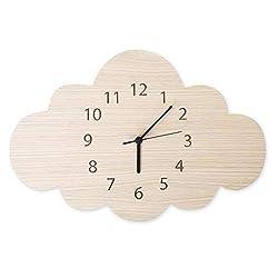 YOEDAF Mute Wall Clocks Cloud Shaped Wood Cartoon Kids Room Wall Decoration for Home Living Room Bedroom Decor
