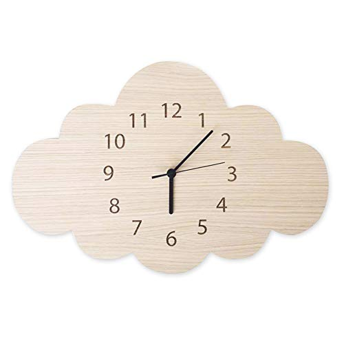 MOOUS Silent Wall Clocks Wood Clock Cloud Shaped Cartoon Decoration for Kids Room Living Room Bedroom Nursery Room