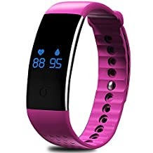 AWOW SP02 Pulse Oximeter Waterproof Fitness Tracker with Heart Rate Monitor Blood Oxygen Sensor for Exercise Red