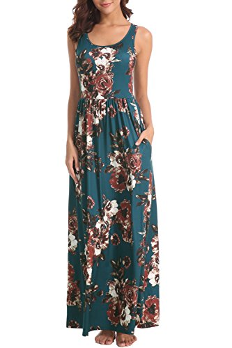 Zattcas Women Floral Tank Maxi Dress Pocket Sleeveless Casual Summer Long Dress (Large, Style 2-Teal with Normal ()