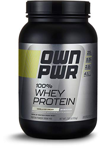 (OWN PWR 100% Whey Protein Powder, Vanilla Ice Cream, 25 G Protein with Enzymes, 2 Pound (28 Servings))