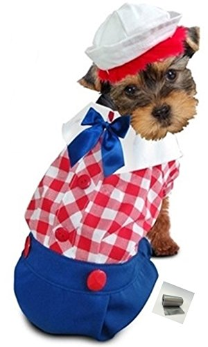 "Raggedy Rag Doll Boy Dog's Costume Ensemble with Bags - for Dog Size (S/M – Chest 14-16"", Neck 10.5"", Back 10.75"", Red Check)"