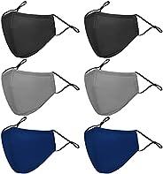 6 PCS Unisex Cotton Cloth Face Masks, Anti-Fog Dust-Proof Face Mask, Washable Reusable Breathable Face Coverin