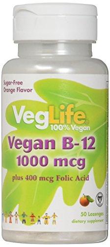 Mcg 50 Lozenges (VegLife B-12 Plus Folic Acid Vegan Lozenge, 1000 mcg, Orange, 50 Count)