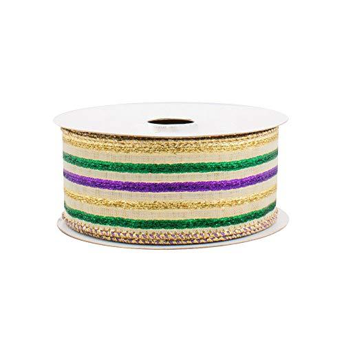 Lamé Striped Mardi Gras Ribbon - 1 1/2