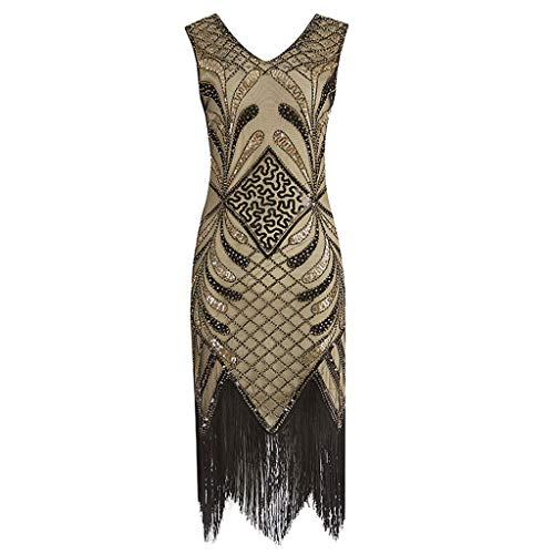 (Euone Dress, Women Vintage 1920s Flapper Dress Costume Dress Fringed Sequin)