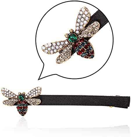 CHIMERA Lovely Alligator Clip Vintage Playful Rhinestone Bee Alloy  gold-plated Hair Clips for Lady 9bb4e32867a9