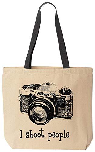 BeeGeeTees I shoot people Nikon Camera Photography Canvas Funny Tote Bag (Black Handle)