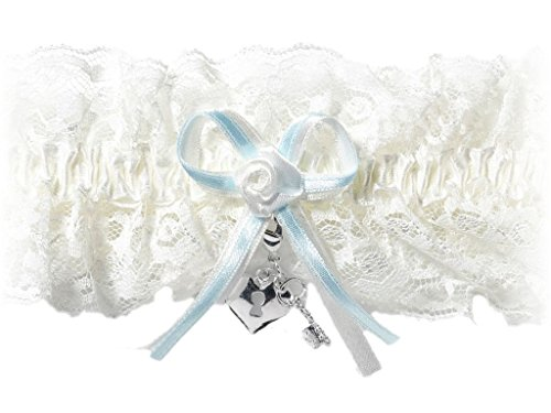 HEART and KEY CHARM Elastic Bridal Wedding Lace Garter - IVORY/Blue