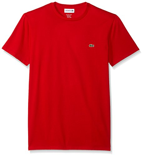 - Lacoste Men's Short Sleeve Crew Neck Pima Cotton Jersey T-Shirt, Red, Large