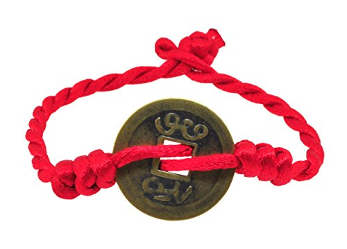 Mandala Crafts Kabbalah Red String Braided Bracelet of Protection for Good Luck Fortune Health Love Ward Off Against Evil Eye (Chinese Coin) ()