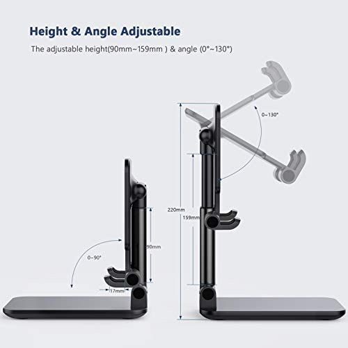 Yoozon Foldable & Adjustable Tablet Stand, [2020 Updated] Compact Desktop iPad Stand Holder Cradle Dock Compatible with Phones, iPad, Samsung Galaxy Tabs, Kindle, Nintendo Switch(13'' Max) (Black)