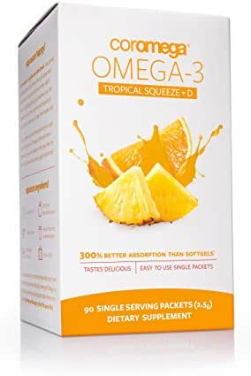 Coromega Omega 3 Fish Oil Supplement with Vitamin D3, 650mg of Omega-3s with 3X Better Absorption Than Softgels, Tropical Orange Flavor, 90 Single Serve Squeeze Packets