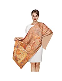 K-ELewon Silk Scarf Fashion Scarves 100% Silk Long Shawls for Women Two Layers Scarves With Button