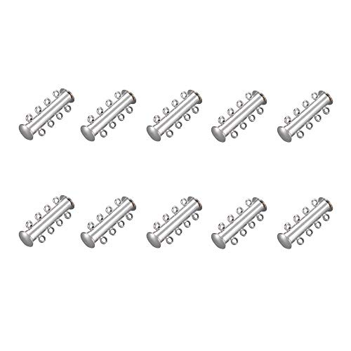 (Homanda Pack of 10 Silver Multi 3 Strands Magnetic Slide Lock Magnetic Tube Clasps Connectors for Necklace Jewelry Findings)