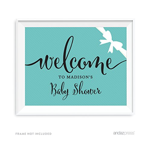 Andaz Press Baby & Co. Baby Shower Collection, Personalized Welcome to Madison's Baby Shower Party Sign, 8.5x11-inch, 1-pack, Custom Name