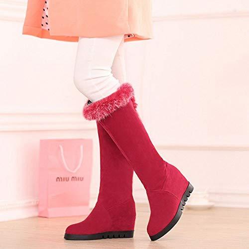 Rosso Rosso Stivali Shoes On Inverno Caldo Knee Moda Pull Pull Foderato Donne Zanpa qRvwAA