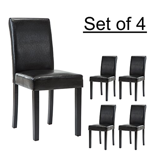 LSSBOUGHT Set of 4 Urban Style Leatherette Dining Chairs With Solid Wood Legs (4, Black) (Leather Chair Style Black)