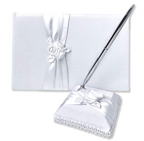 Wedding Guest Book and Pen Set | Elegant Guest Book Wedding Set with Lined Pages for Sign in | White Satin Fabric with Classic Touch