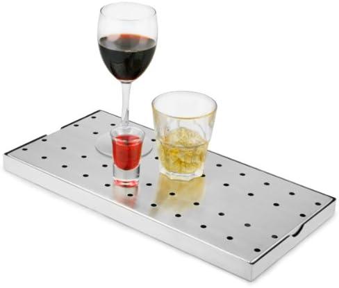 bar@drinkstuff Abtropfschale aus Edelstahl, 20 x 40 cm, Abtropfschale für die Bar, Biertropfschale