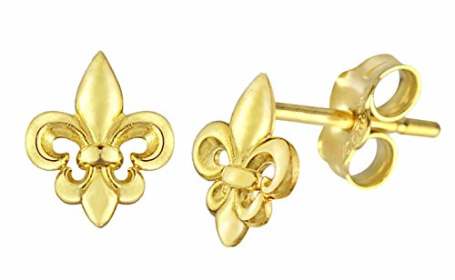 10K GOLD HIGH POLISHED FLEUR DE LIS EARRINGS