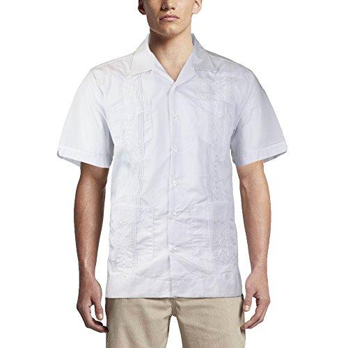 Alberto Cardinali Men's Guayabera Short Sleeve Cuban Casual Dress Shirt (L, White)