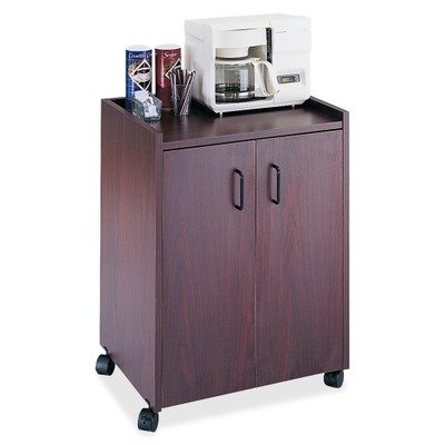 SAF8953MH - Safco Mobile Refreshment - Serving Cart Mahogany