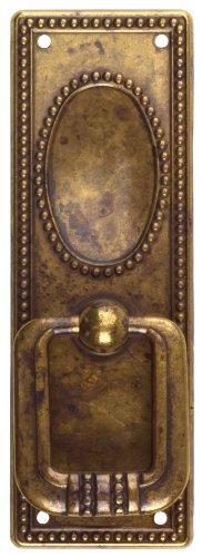 Bosetti Marella 100229.03 Classic Series Vertical Drop Pull with Backplate, Antique Brass Distressed, 1.3-by-3.82-Inch (Bosetti Marella Hardware Classic)
