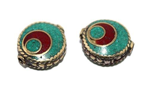 (Round Handmade Nepalese Tibet Coral Turquoise Beads)