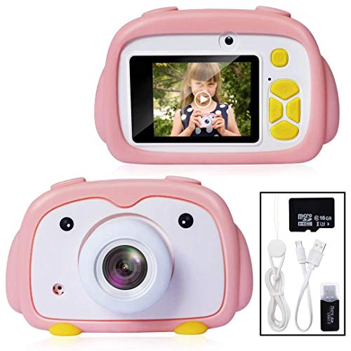 Joytrip Digital Kids Gifts Camera 12.0MP FHD 1080P Video Resolution Mini Rechargeable Camera for Boys & Girls Ages 3-12 Child Selfie Camera Camcorder with Silicone Case(16G Card-Pink Penguin)