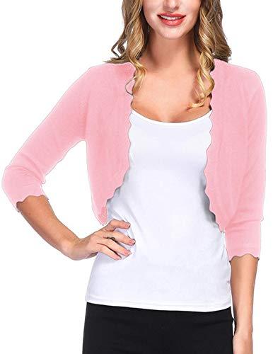50s Vintage Cardigan for Women (L,Pink)