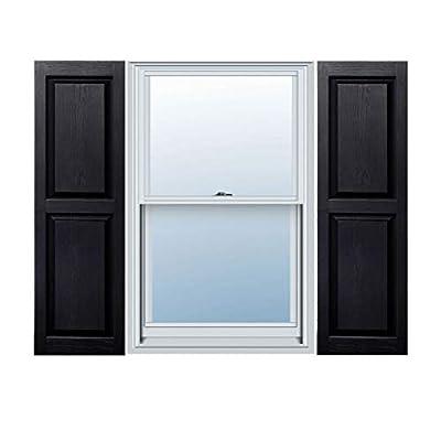 "12"" x 51"" Builders Choice Vinyl Raised Panel Window Shutters, w/Shutter Spikes & Screws (Per Pair), Black"
