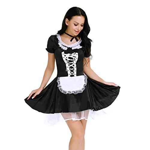 iEFiEL Women Naughty House Maid Apron Dress Cosplay Costume Outfit with Choker Black (Over Sexualized Costumes)