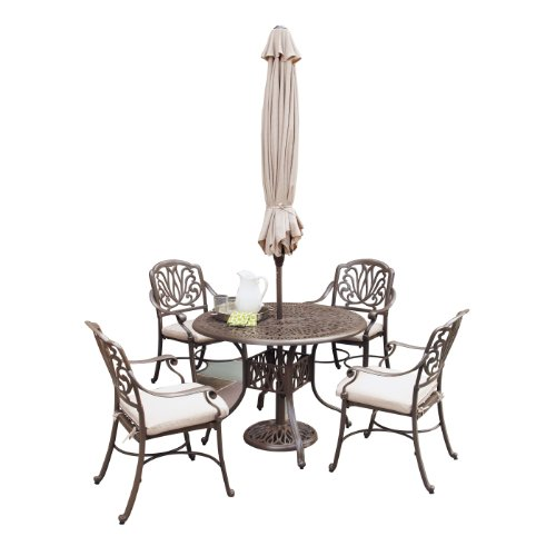 Home Styles 5559-3286 Floral Blossom Taupe 5-Piece Dining Set with Umbrella Review