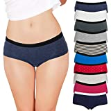 Emprella Womens Underwear Boyshort Panties Cotton/Spandex - 10 Pack Colors Patterns May Vary (Medium, Assorted)