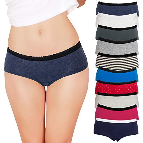 Emprella Womens Underwear Boyshort Panties Cotton/Spandex - 10 Pack Colors and Patterns May Vary … (X-Large, Assorted)