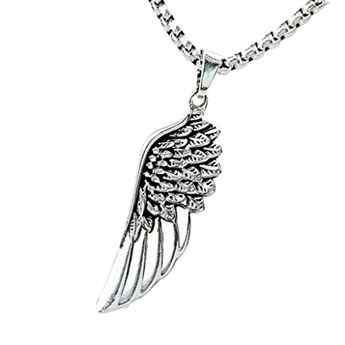 Classic Women Mens Stainless Steel Angel Wing Charms Pendant Necklace Chain Necklace Jewelry Crafting Key Chain Bracelet Pendants Accessories Best