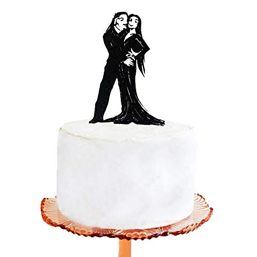 Wedding Cake Topper - Halloween Wedding Cake Topper, Addams Family - Morticia and Gomez Silhouette cake -