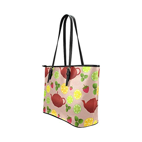 WDDHOME Womens handväskor vacker retro söt vattenkokare blommor läder hand döda väska vardagliga handväskor dragkedja axel organizer för lady Girls Womens handväska Wrap