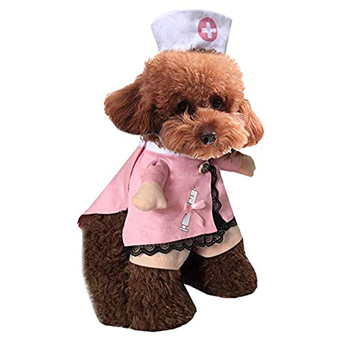 IdealHome Pet Dog Cat Halloween Costume Nurse Doctor Costume Dog Jeans Clothes Cat Funny Apperal Outfit Uniform