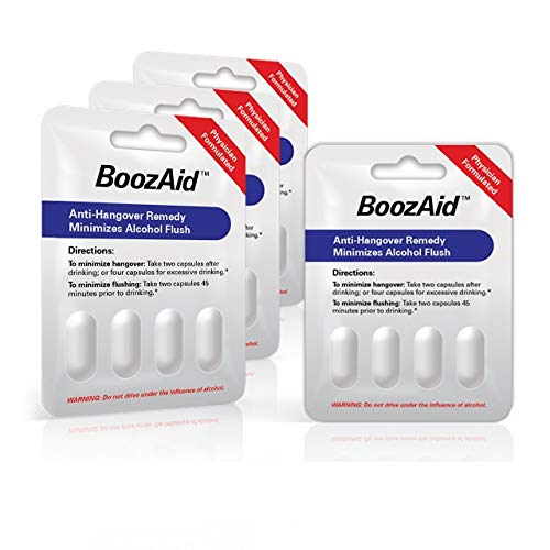 Boozaid Hangover Prevention & Remedy Pills That Support The Brain, Liver and Stomach to Relieve Hangover Symptoms After Excessive Drinking - 4 Pack (Double Serving of 4 Capsules)