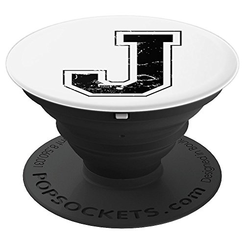 INITIAL LETTER J BLACK JERSEY SPORTS ATHLETIC PLAYER - PopSockets Grip and Stand for Phones and Tablets -