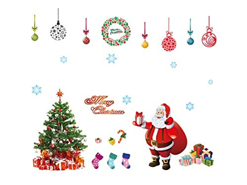 Yunqir Christmas Santa Window Wall Stickers Removable Wall Decals(Red) by Yunqir (Image #5)
