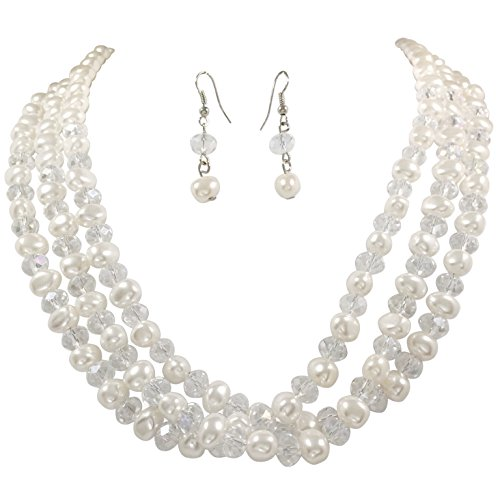 Layered Imitation Pearl & AB Glass Beaded Necklace And Earrings Set (3 Row)