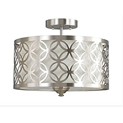 "Earling 15"" W Brushed Nickel Fabric Semi-Flush Mount Light Ceiling Fixture"